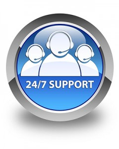 24/7 support (customer care team icon) glossy blue round button
